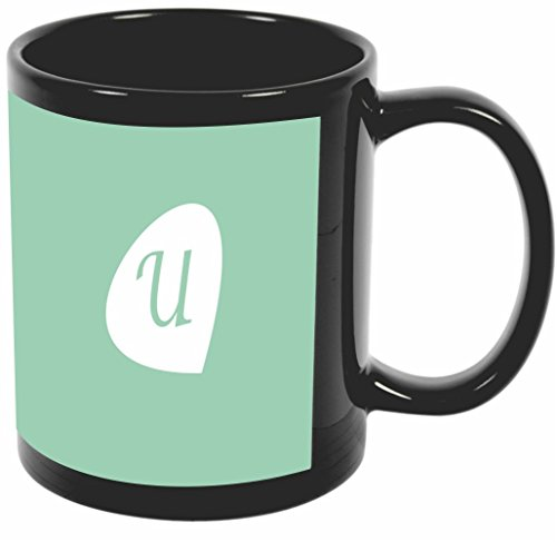 "Rikki Knight Letter ""U"" Initials Hemlock Green Color Petal Leaves Design 11 oz Photo Quality BLACK Ceramic Coffee Mugs Cups - Dishwasher and Microwave Safe"
