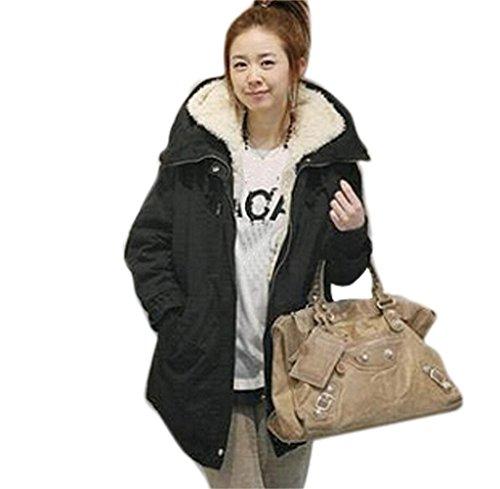 Tongshi Damas con capucha Parka polar TopWinter caliente larga mujer chaqueta abrigo Negro