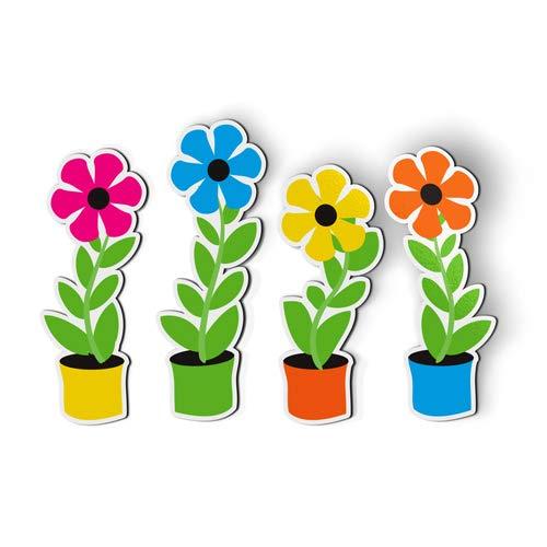 AK Wall Art Flowers in Pots Cute Set of 4 - Magnets - Flexible Waterproof - Fridge Locker - Select Size