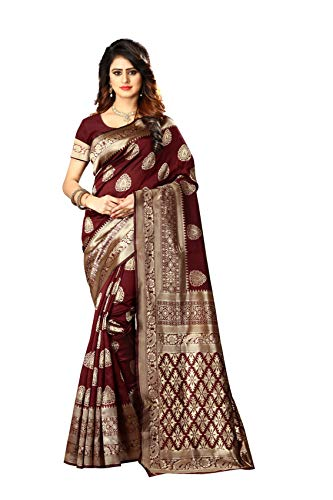 (Women's Banarasi Silk Saree Indian Wedding Ethnic Sari & Unstitch Blouse Piece PARI 21 (Maroon))