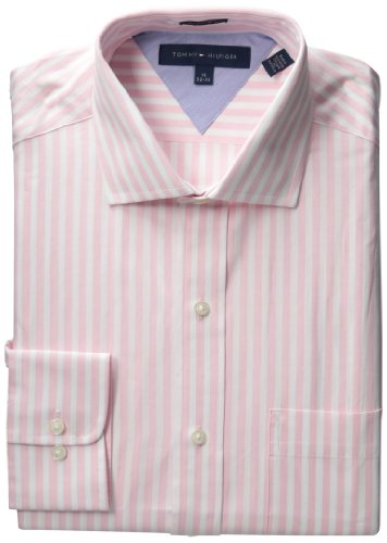Tommy Hilfiger Men's Long Sleeve Reg Stripe Spread, Pink, 16.5 32-33
