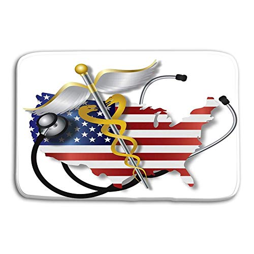 (Library design Doormat Indoor Outdoor Stethoscope USA Flag map Caduceus Listening to Country Heartbeat Rod Medical Symbol White Background Illustration mat)