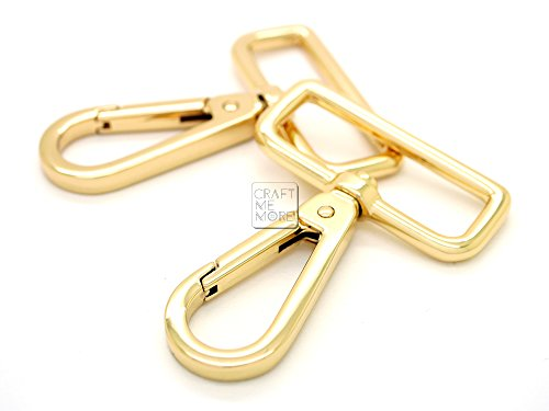 (CRAFTMEmore 2PCS 1-1/2 Inch Push Gate Snap Hooks Metal Swivel Lobster Claw Clasp Purse Hardware (Gold))