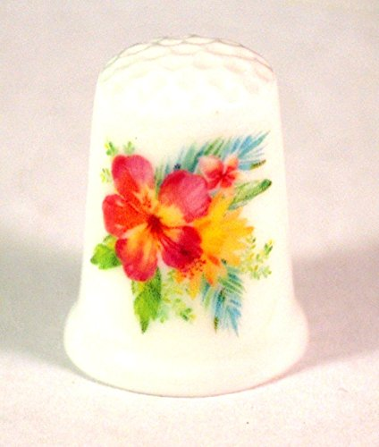 (Collectible Thimble with Tropical Flowers Hibiscus)