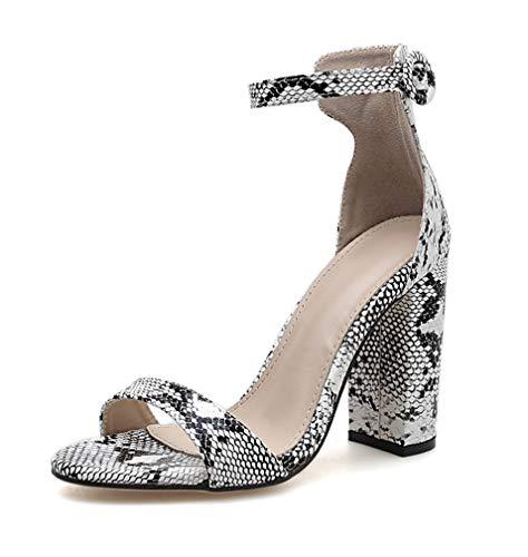 Stupmary Women's Peep Toe Pumps High Heels Buckle Strap Sanke Print Block Heels