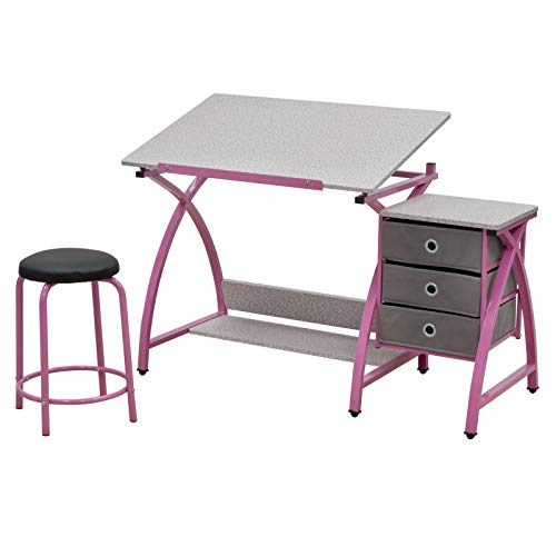 Comet Center with Stool in Pink / Spatter Gray