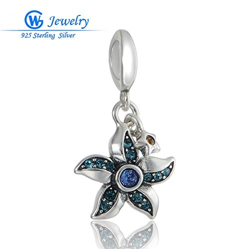 925 Sterling Silver Starfish Silver Charm | Cubic Style Charms for Bracelets Fashion Jewelry