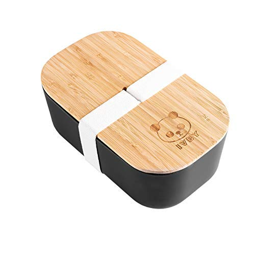 IVBY Japanese Bento Box - Eco-Friendly Bento Lunch Box - Bamboo Fiber with Panda Design - Biodegradable, BPA Free - For Kids and Adults - 1100ml Capacity 7.9 x 4.7 x 3.2inch - Reusable Lunch Container