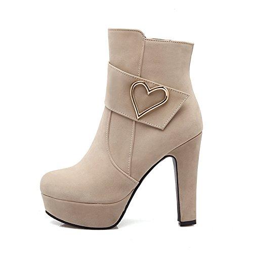 nbsp;Lining SXC02670 Platform Chunky AdeeSu Velvet Heels nbsp; Boots Womens Microsuede apricot wtXqUq1zy
