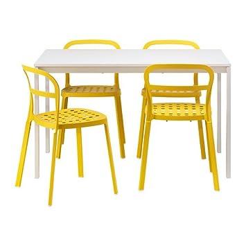 125 Melltorp Reidar 4 StühleWeißGelb Tisch Cm Ikea Und Nwmn80