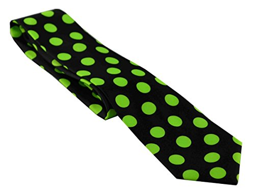 Po Po Polka Dot Circle Ball Necktie Skinny Ties Black Lime (Black Tie Circle)