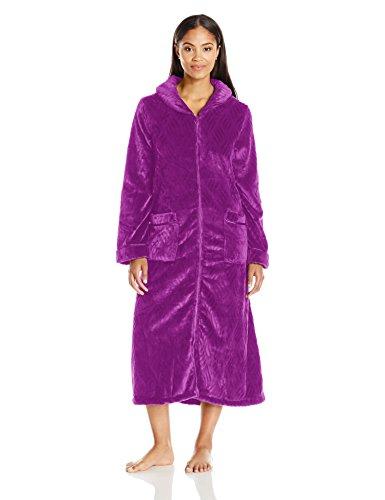 Aria Women's Sleeve Long Textured Chenile Zip Front Robe, Plum, - Pique Robe Waffle