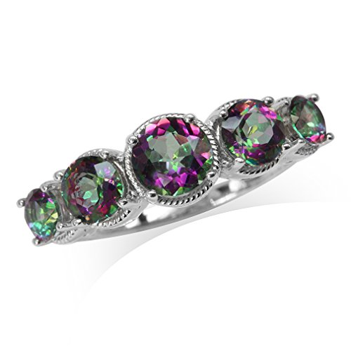 5-Stone Mystic Fire Topaz White Gold Plated 925 Sterling Silver Rope Ring Size 7 ()