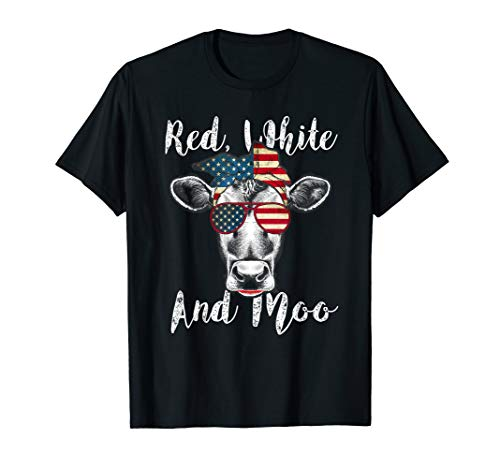 Cow Moo Little (Red White and Moo Patriotic Cow USA Flag 4th of July T-Shirt)