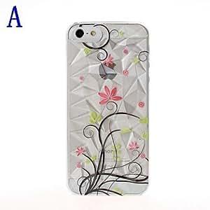 iPhone 5S Case, WBowen Beauty Flowers Pattern Diamond Effect Plastic Hard Case for iPhone 5/5S,A