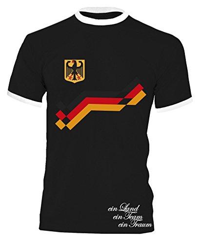 Luckja EM 2016 Trikot Deutschland Fanshirt Retro-Look Motiv 8 Herren Rundhals T-Shirt