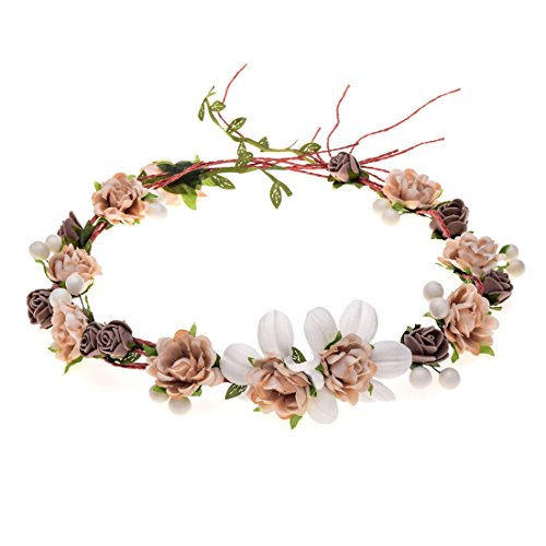 Love Sweety Women Girls Bride Rose Pearl Flower Crown Boho Floral Headpiece for Party (1# -