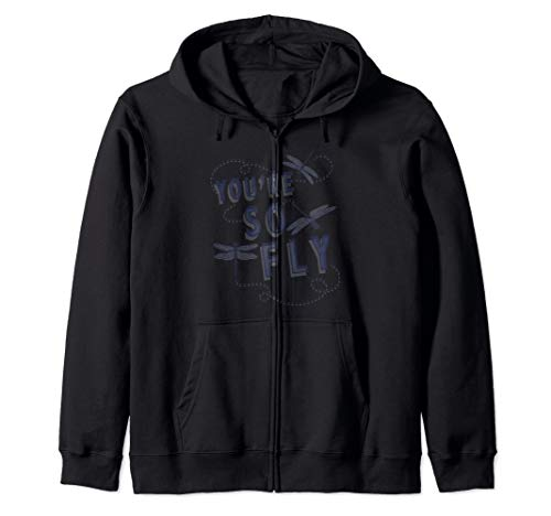 - You Are So Fly Blue Dragonflies Graphic Zip Hoodie