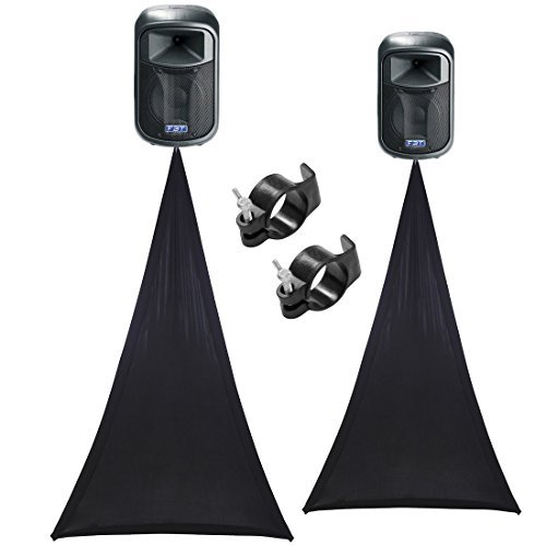 (2) Scrim King SS-SPKB Black Single Sided Speaker Stand Scrim & (2) SS-CLP01 Clamp Bundle by SCRIM King