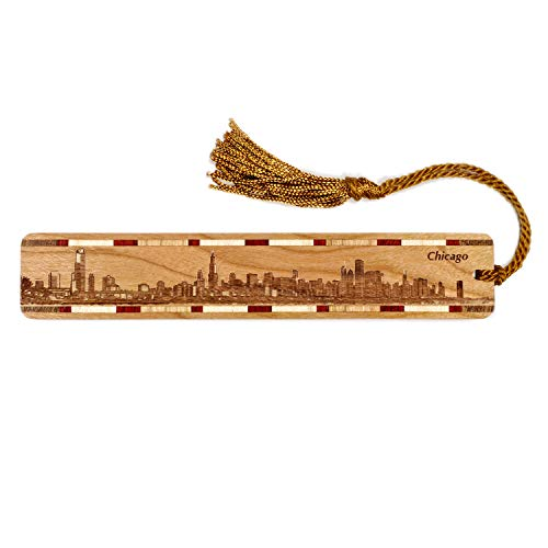 Chicago Illinois Skyline Engraved Wooden Bookmark with Tassel - Personalized version also available - search B071NW7JS7. -