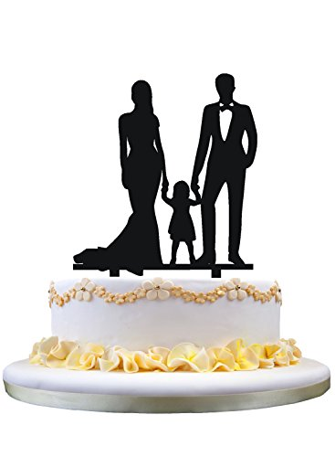 Family cake topper,bride and Groom with their little girl(daughter)