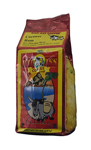 Bad Ass Coffee - Whole Bean Hawaiian Blend Coffee, Coconut Rum - 10 Ounces