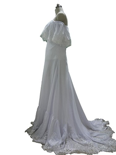 Off Gown Wedding Bridal Ivory Blevla Chiffon Lace Edge Shoulder Dresses gP1wqd