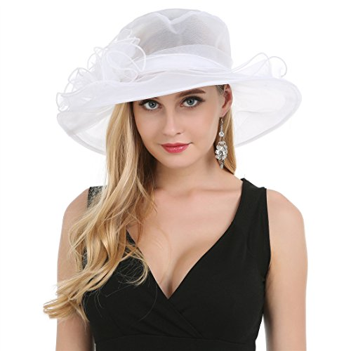 Saferin Women's Kentucky Derby Party Church Wedding Floral Organza Hat White