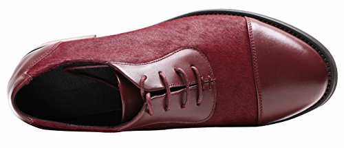 U-lite Ulite Womens Pieced Cowhide Leather Upper, Lace Up Comfort Oxford Shoes,featuring Soft Hony Hair At Vamp Burgundy