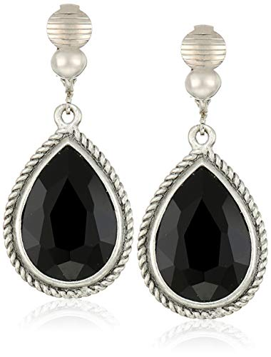 (1928 Jewelry Women's Silver-Tone Jet Faceted Pearshape Drop Clip Earrings, Black, One Size)