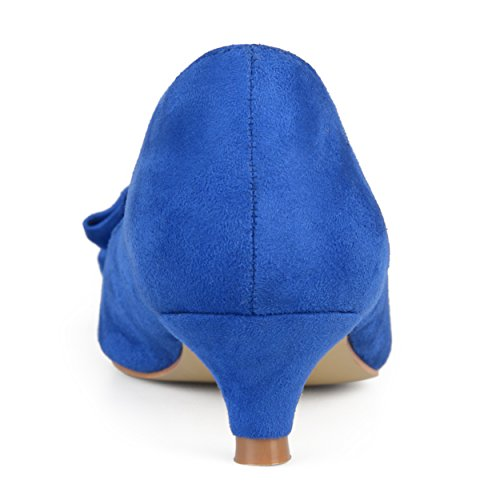 Journee Collectie Dames Ruches Faux Suede Kitten Hakken Blauw