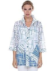 Terra-Sj Apparel Womens 3/4 Length Sleeves Top with Convertible Collar
