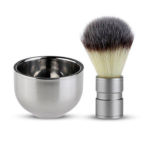 gadgetzone nailon Brocha Afeitar Pelo Tejón & acero inoxidable cuenco Taza Hombre Kit de Afeitado Set regalo Gadgetzone®
