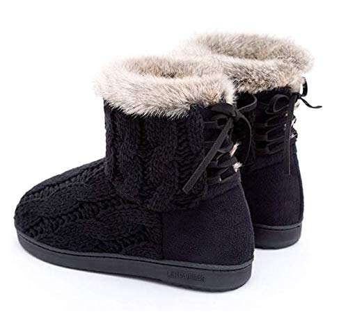 ULTRAIDEAS Cable Lace Memory amp; Black Foam Outdoor Adjustable w Shoes Knit Yarn Women's Bootie Slippers Suede Indoor YExqwErZHn