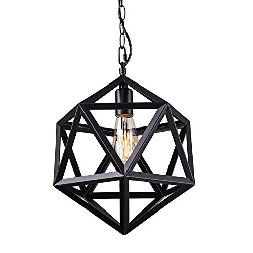 Wrought Pendant Island Iron (YaQi Lighting Black Wrought Iron Pendant Light Industrial Polyhedron Pendant Lighting Vintage Diamond Metal Hanging Light Fixture for Bar,Restaurant, Cafe, Farmhouse,Barn)
