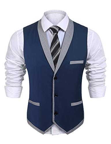 JINIDU Mens Business Suit Vest Slim Fit Classic Lapel Formal Button Down Waistcoat (Large, Blue)