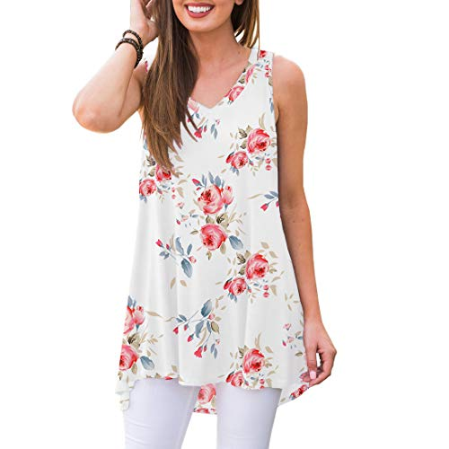 Tank Top Sleepwear Shirt - AWULIFFAN Women's Summer Sleeveless V-Neck T-Shirt Short Sleeve Sleepwear Tunic Tops Blouse Shirts (Flower White,S)