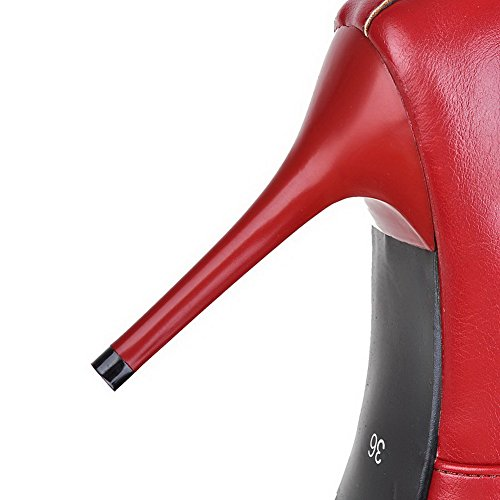 Allhqfashion Women's Closed Pointed Toe Low-Top High-Heels Solid PU Boots Red d5kKwz