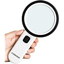 Magnifier Magnifying Glass with Light, 30X Handheld Lighted Led Magnifier with 12 LEDs Double Glass Lens for Seniors Reading, Coins, Stamps, Map,Jewelry, Inspection, Macular Degeneration