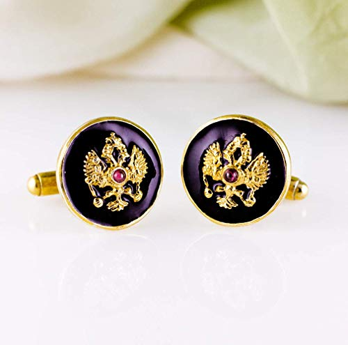 Black Cufflinks Double Headed Eagle Jewelry Gift For Men 24K Gold Vermeil over Sterling Silver with Garnet Cabochons