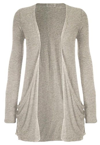 (Crazy Girls Womens Boyfriend Pocket Cardigan Jersey Shrug (US12-UK14/16, Light Grey))