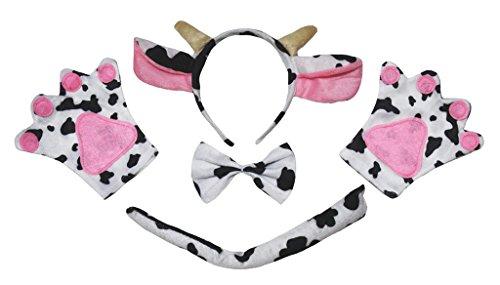 Petitebella Pink Cow Headband Bowtie Tail Gloves 4pc Children Costume (One Size) -