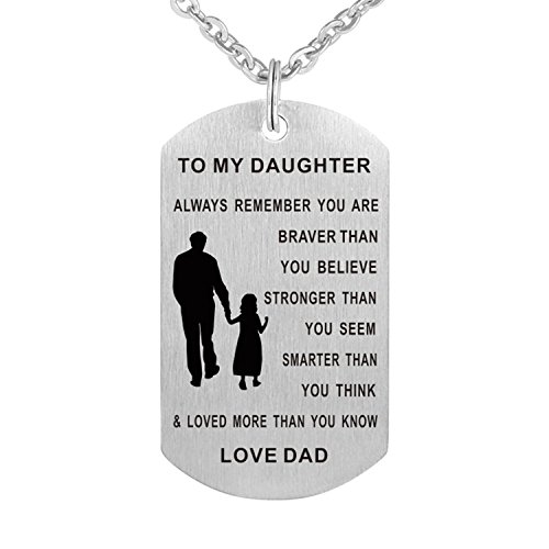 Inspirational pendant necklace Stainless steel Dog tag Always remember you are braver To my son/daughter BLMDP2