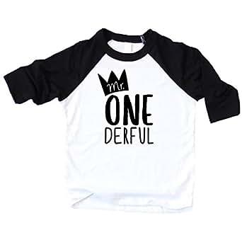 Olive Loves Apple Mr One-Derful Baseball Tee Shirt for Boys 1st Birthday Shirt