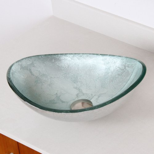 Hand Painted Foil Boat Shaped Oval Bowl Bottom Vessel Bathroom Sink Sink Finish: Silver