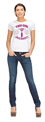 ZETAMARKT T-Shirt Donna Girl Love Jack Daniel's Pink Lady Girl Funny Shirt Personalizzata Damen Shirt