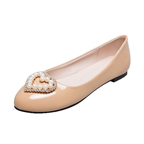 Shoes Heels Round Low PU On Pumps Apricot VogueZone009 Women's Patent Toe Pull wq1WOaB