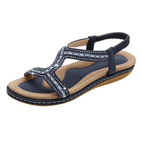 Women's Summer Flat Sandals,Ladies Outdoor Open-Toe Square Heel Shoes Ankle Strap Fish Mouth Elegant Plus Size Soft Sandals (Dark Blue, -