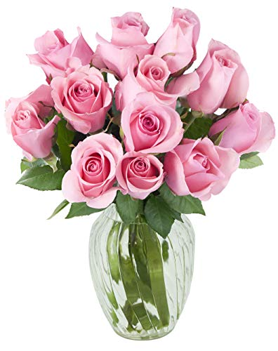 - KaBloom Bouquet of 12 Fresh Pink Roses (Farm-Fresh, Long-Stem) with Vase