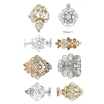 2c1fcbae5 Amazon.com: HJLWST 1Pcs Metal Rose Gold And Silver Series Fancy ...